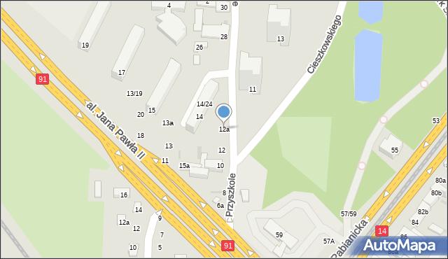 Łódź, Przyszkole, 12a, mapa Łodzi