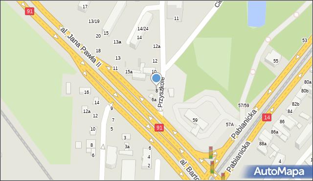Łódź, Przyszkole, 8, mapa Łodzi