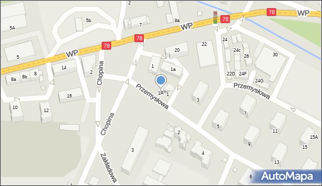 Poręba, Przemysłowa, 1A, mapa Poręba