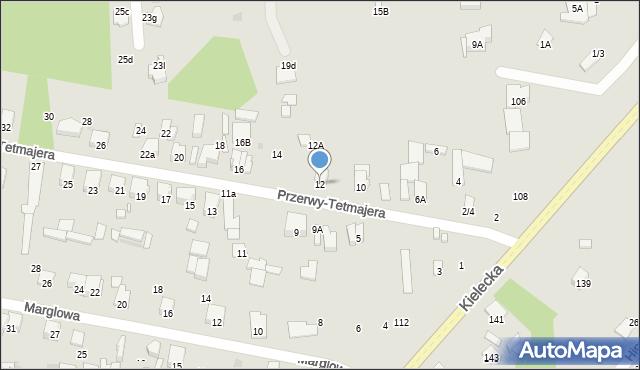 Radom, Przerwy-Tetmajera Kazimierza, 12, mapa Radomia
