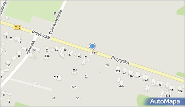 Radom, Przytycka, 103, mapa Radomia
