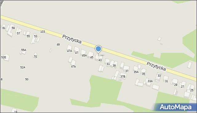 Radom, Przytycka, 43A, mapa Radomia