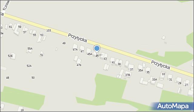 Radom, Przytycka, 45, mapa Radomia