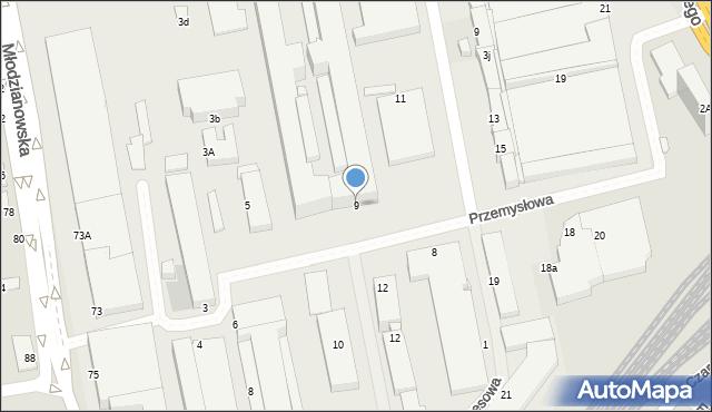Radom, Przemysłowa, 9, mapa Radomia