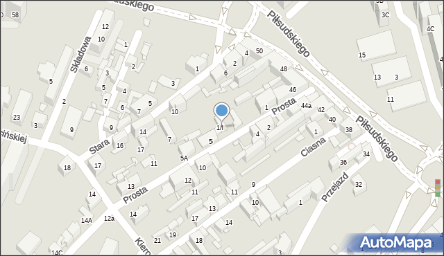 Sosnowiec, Prosta, 1/I, mapa Sosnowca