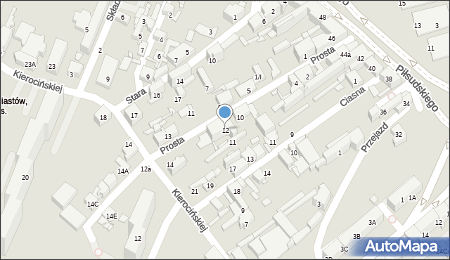 Sosnowiec, Prosta, 12, mapa Sosnowca