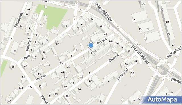 Sosnowiec, Prosta, 4, mapa Sosnowca