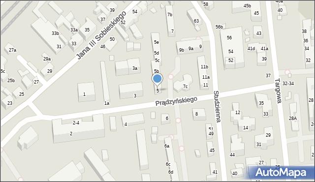 Toruń, Prądzyńskiego Ignacego, gen., 5, mapa Torunia