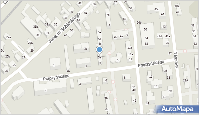 Toruń, Prądzyńskiego Ignacego, gen., 5a, mapa Torunia