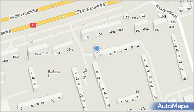 Toruń, Prejsa Juliana, 1, mapa Torunia