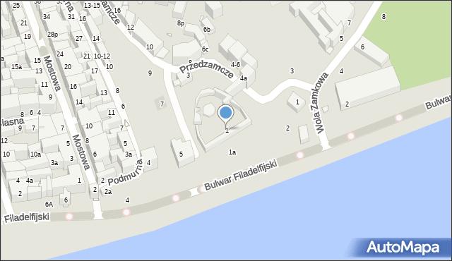 Toruń, Przedzamcze, 1, mapa Torunia