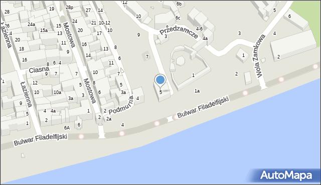 Toruń, Przedzamcze, 5, mapa Torunia