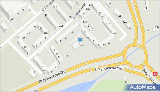 Toruń, Przy Kaszowniku, 7, mapa Torunia
