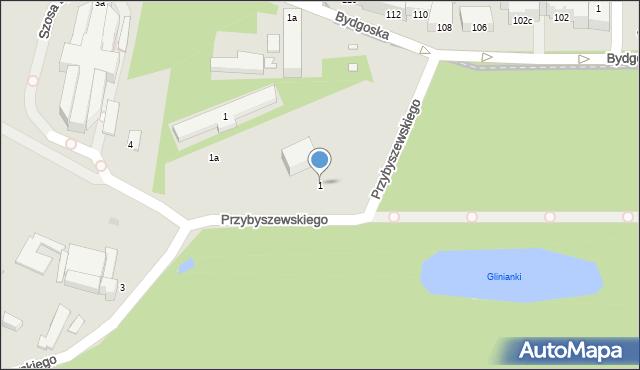 Toruń, Przybyszewskiego Stanisława, 1, mapa Torunia