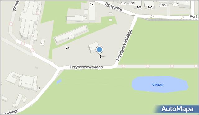 Toruń, Przybyszewskiego Stanisława, 1B, mapa Torunia