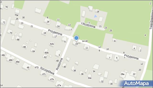 Toruń, Przyjemna, 13, mapa Torunia