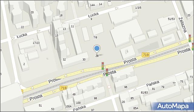 Warszawa, Prosta, 28, mapa Warszawy