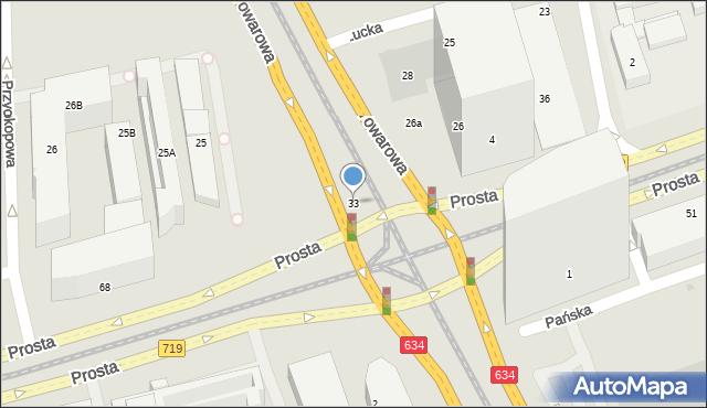 Warszawa, Prosta, 33, mapa Warszawy
