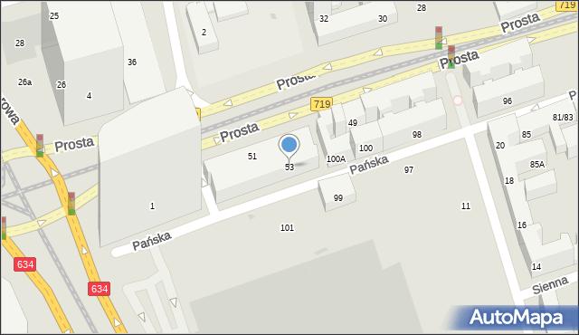 Warszawa, Prosta, 59/61, mapa Warszawy