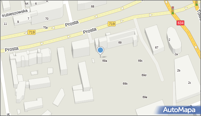 Warszawa, Prosta, 69p, mapa Warszawy