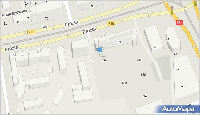 Warszawa, Prosta, 69v, mapa Warszawy