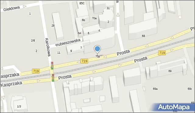 Warszawa, Prosta, 70p, mapa Warszawy