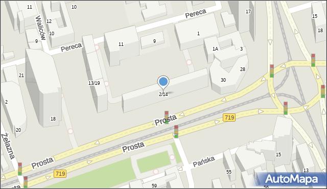 Warszawa, Prosta, 2/14, mapa Warszawy
