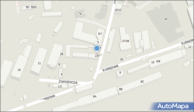 Warszawa, Przyokopowa, 1/3, mapa Warszawy