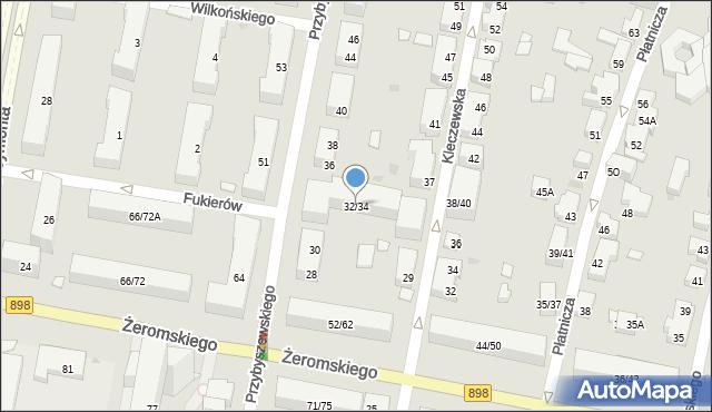 Warszawa, Przybyszewskiego Stanisława, 32/34, mapa Warszawy