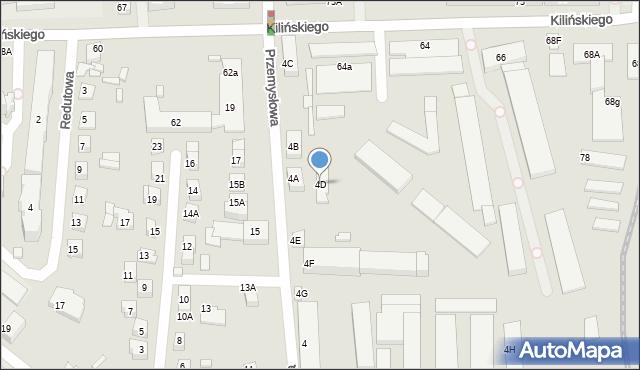 Zamość, Przemysłowa, 4D, mapa Zamościa