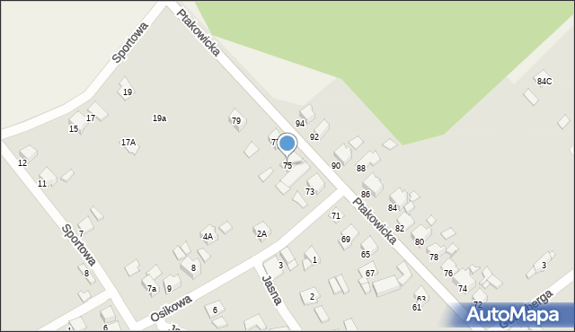 Bytom, Ptakowicka, 75, mapa Bytomia