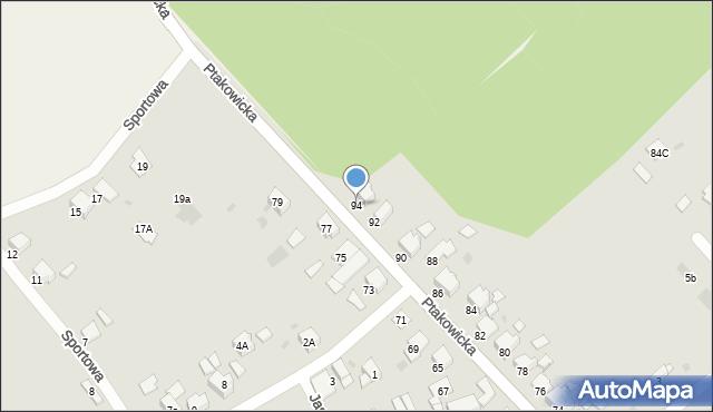 Bytom, Ptakowicka, 94, mapa Bytomia