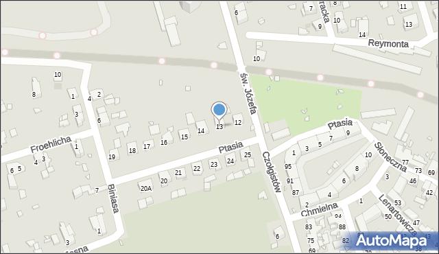 Zabrze, Ptasia, 13, mapa Zabrza