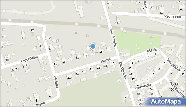 Zabrze, Ptasia, 14, mapa Zabrza