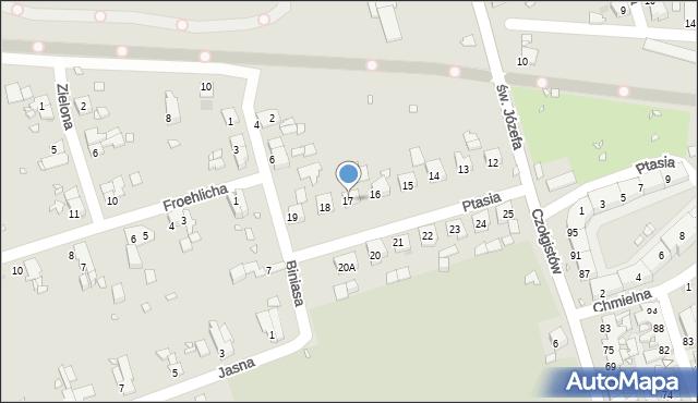 Zabrze, Ptasia, 17, mapa Zabrza