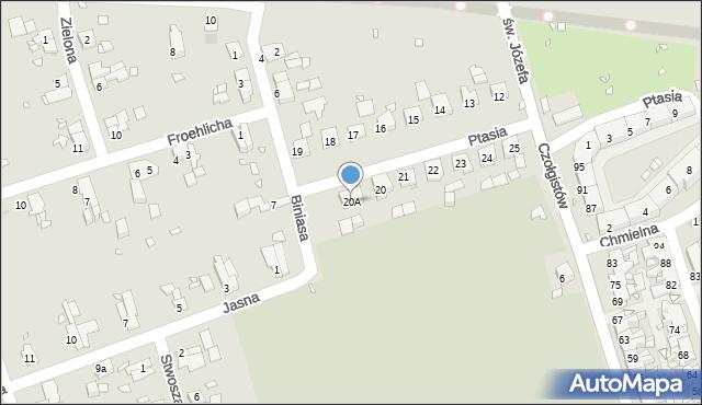 Zabrze, Ptasia, 20A, mapa Zabrza
