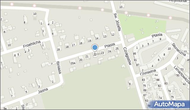 Zabrze, Ptasia, 22, mapa Zabrza