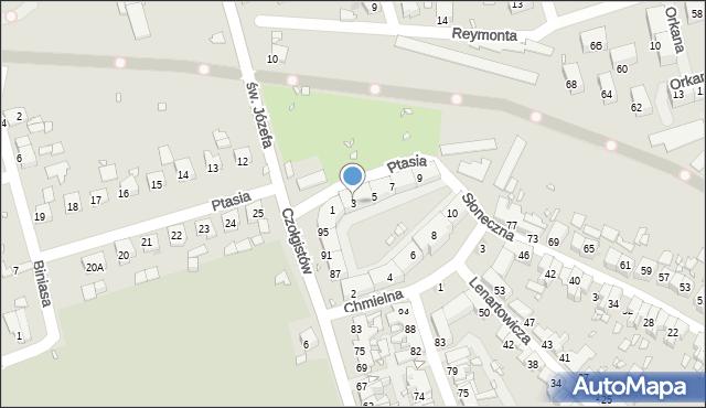 Zabrze, Ptasia, 3, mapa Zabrza
