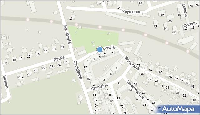 Zabrze, Ptasia, 5, mapa Zabrza