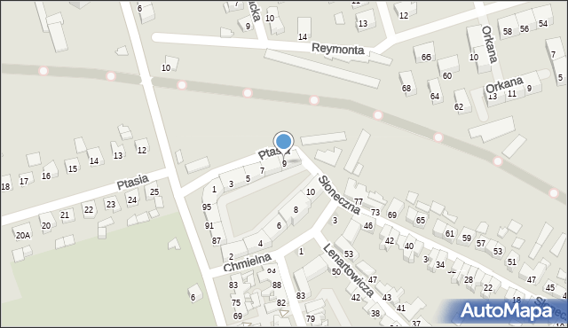 Zabrze, Ptasia, 9, mapa Zabrza