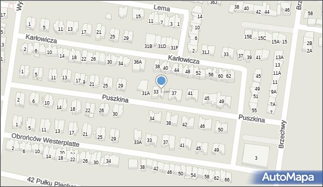 Białystok, Puszkina Aleksandra, 35, mapa Białegostoku