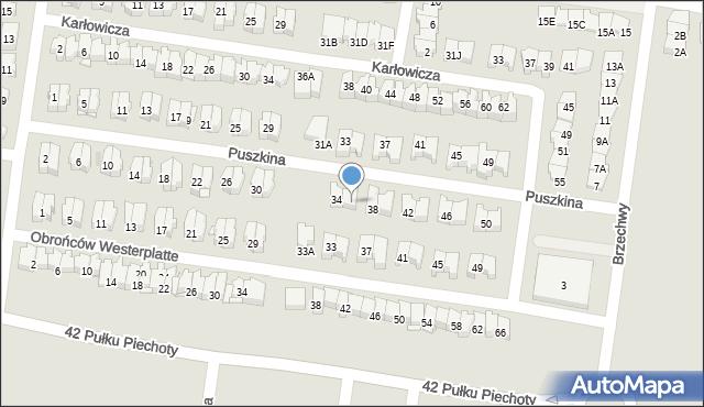 Białystok, Puszkina Aleksandra, 36, mapa Białegostoku