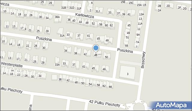 Białystok, Puszkina Aleksandra, 46, mapa Białegostoku