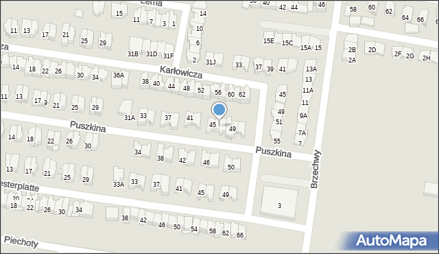 Białystok, Puszkina Aleksandra, 47, mapa Białegostoku