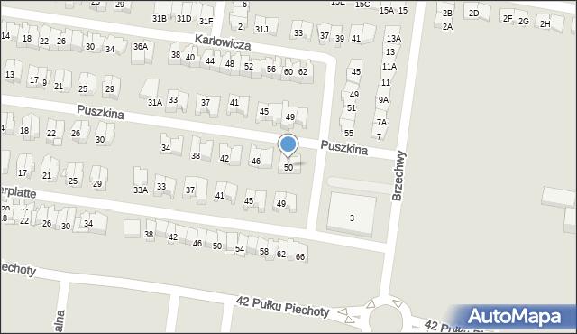 Białystok, Puszkina Aleksandra, 50, mapa Białegostoku