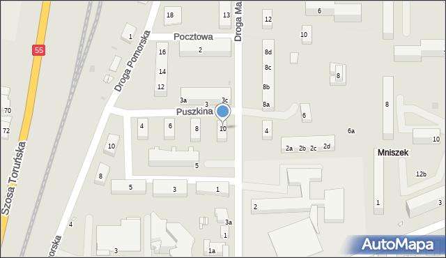 Grudziądz, Puszkina Aleksandra, 10, mapa Grudziądza