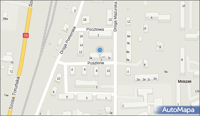 Grudziądz, Puszkina Aleksandra, 3b, mapa Grudziądza