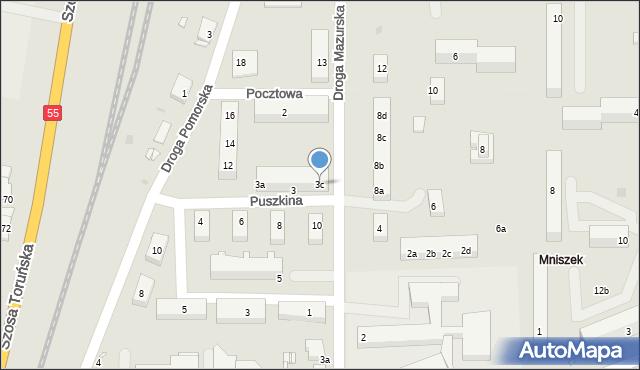 Grudziądz, Puszkina Aleksandra, 3c, mapa Grudziądza
