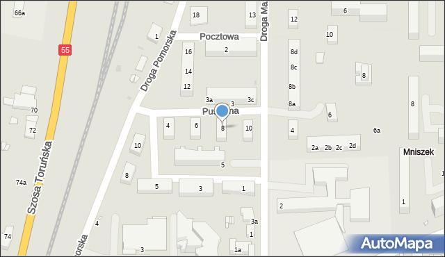 Grudziądz, Puszkina Aleksandra, 8, mapa Grudziądza