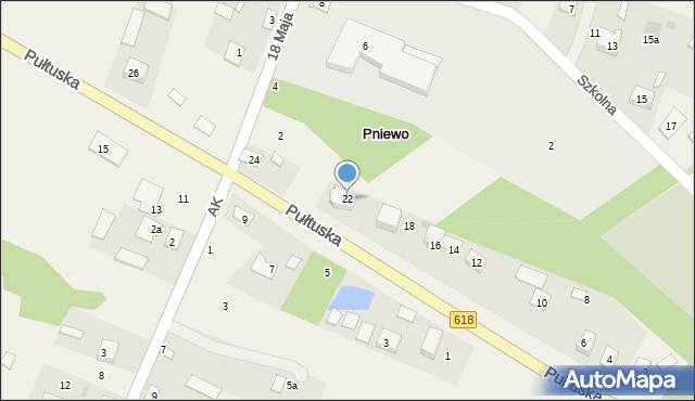 Pniewo, Pułtuska, 22, mapa Pniewo